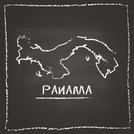 Panama outline vector map hand drawn with chalk on a blackboard. Chalkboard scribble in childish style. White chalk texture on black background.