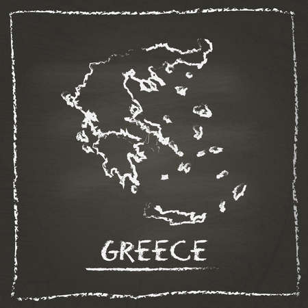 Greece outline vector map hand drawn with chalk on a blackboard. Chalkboard scribble in childish style. White chalk texture on black background.