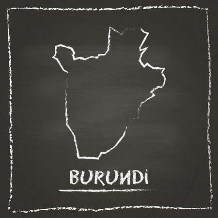 Burundi outline vector map hand drawn with chalk on a blackboard. Chalkboard scribble in childish style. White chalk texture on black background.