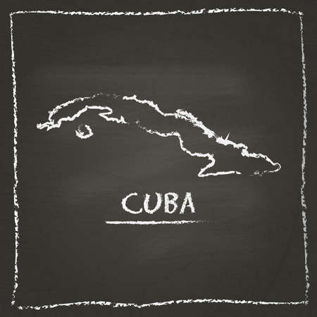 Cuba outline vector map hand drawn with chalk on a blackboard. Chalkboard scribble in childish style. White chalk texture on black background.