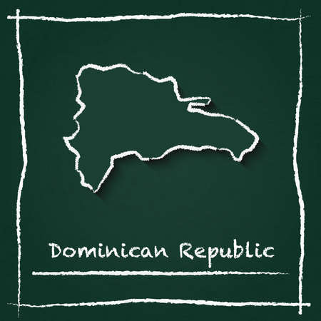 Dominican Republic outline vector map hand drawn with chalk on a green blackboard. Chalkboard scribble in childish style. White chalk texture on green background.