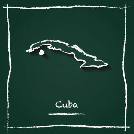 Cuba outline vector map hand drawn with chalk on a green blackboard. Chalkboard scribble in childish style. White chalk texture on green background.