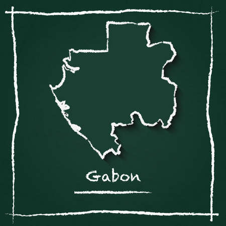 Gabon outline vector map hand drawn with chalk on a green blackboard. Chalkboard scribble in childish style. White chalk texture on green background.