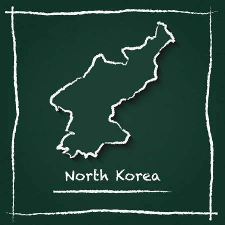 Korea, Democratic People\'s Republic Of outline vector map hand drawn with chalk on a green blackboard. Chalkboard scribble in childish style. White chalk texture on green background.