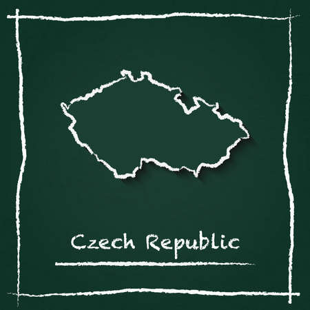 Czech Republic outline vector map hand drawn with chalk on a green blackboard. Chalkboard scribble in childish style. White chalk texture on green background.