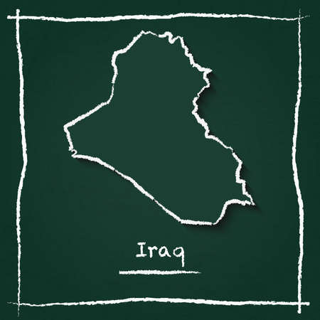 Iraq outline vector map hand drawn with chalk on a green blackboard. Chalkboard scribble in childish style. White chalk texture on green background.