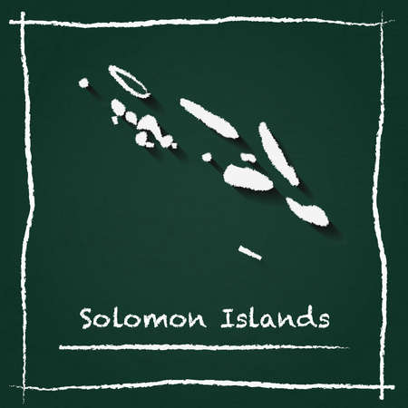 Solomon Islands outline map hand drawn with chalk on a green chalkboard scribble in childish style.