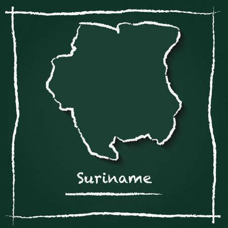 Suriname outline map hand drawn with chalk on a green chalkboard scribble in childish style.