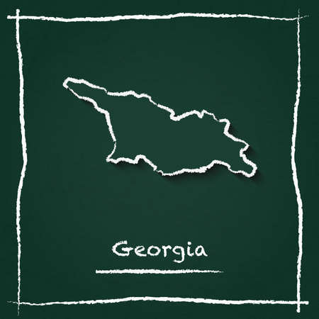 Georgia outline vector map hand drawn with chalk on a green blackboard. Chalkboard scribble in childish style. White chalk texture on green background.
