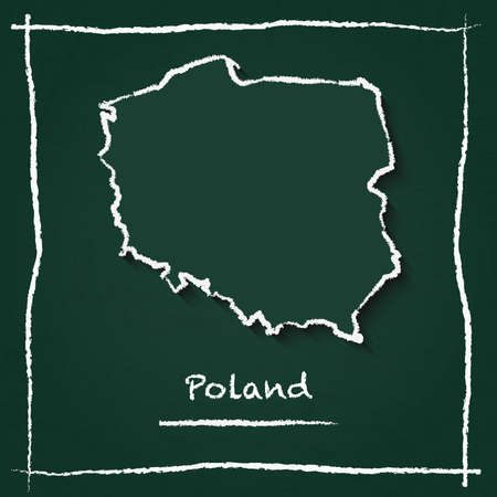 Poland outline vector map hand drawn with chalk on a green blackboard. Chalkboard scribble in childish style. White chalk texture on green background.