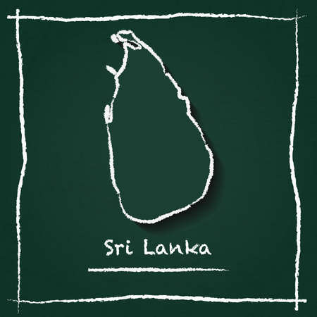 Sri Lanka outline vector map hand drawn with chalk on a green blackboard. Chalkboard scribble in childish style. White chalk texture on green background.