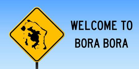 Bora Bora Map On Road Sign Wide Poster With Bora Bora