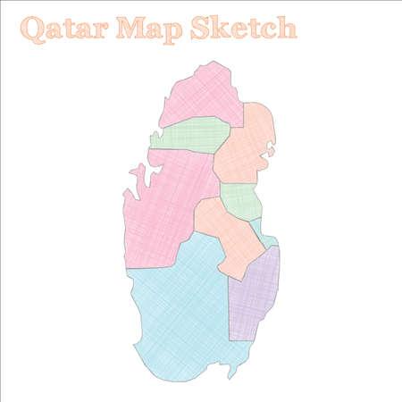 Qatar map. Hand-drawn country. Artistic sketchy Qatar map ...