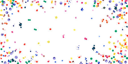 Illustration for Watercolor confetti on white background. Rainbow colored blobs wide vignette. Colorful bright hand painted illustration. Happy celebration party background. Awesome vector illustration. - Royalty Free Image