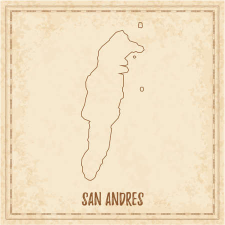 Illustration for Pirate map of San Andres. Blank vector map of the Island. Vector illustration. - Royalty Free Image