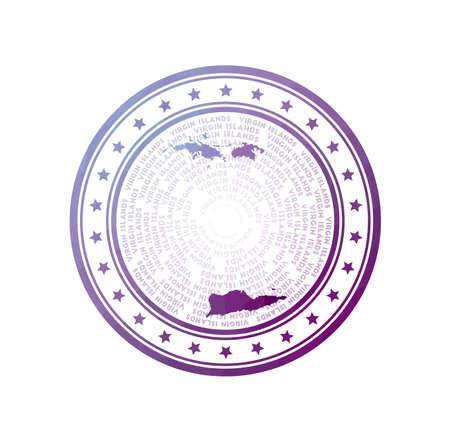 Flat low poly stamp of Virgin Islands. Polygonal Virgin Islands badge. Trendy vector logo of the island.