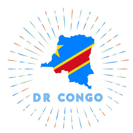 DR Congo sunburst badge. The country sign with map of DR Congo with Congolese flag. Colorful rays around the logo. Vector illustration.