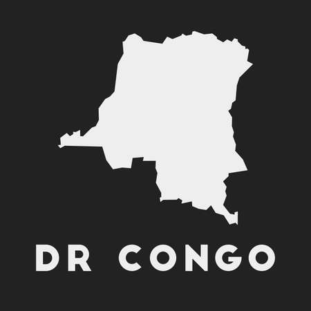 DR Congo icon. Country map on dark background. Stylish DR Congo map with country name. Vector illustration.
