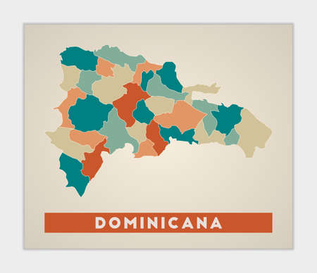 Dominicana poster. Map of the country with colorful regions. Shape of Dominicana with country name. Authentic vector illustration.