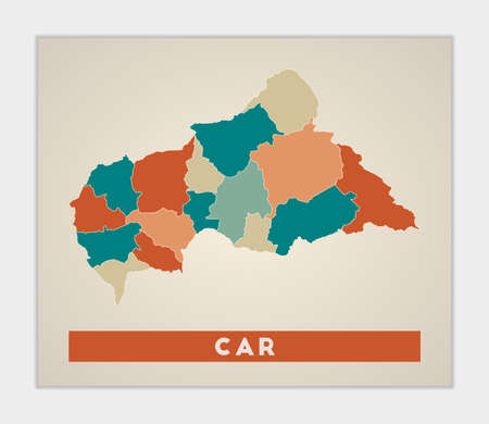 CAR poster. Map of the country with colorful regions. Shape of CAR with country name. Classy vector illustration.