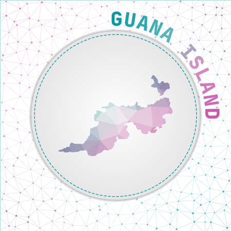 Vector polygonal Guana Island map. Map of the island with network mesh background. Guana Island illustration in technology, internet, network, telecommunication concept style.