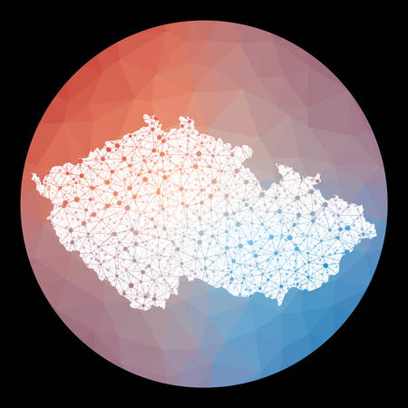 Vector network Czech Republic map. Map of the country with low poly background. Rounded Czech Republic illustration in technology, internet, network, telecommunication concept style.