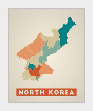 North Korea poster. Map of the country with colorful regions. Shape of North Korea with country name. Amazing vector illustration.