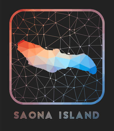 Saona Island map design. Vector low poly map of the island. Saona Island icon in geometric style. The island shape with polygnal gradient and mesh on dark background.