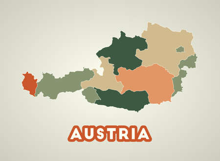 Austria poster in retro style. Map of the country with regions in autumn color palette. Shape of Austria with country name. Neat vector illustration.