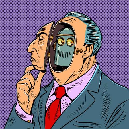 Photo pour An man disguises himself as a human robot - image libre de droit