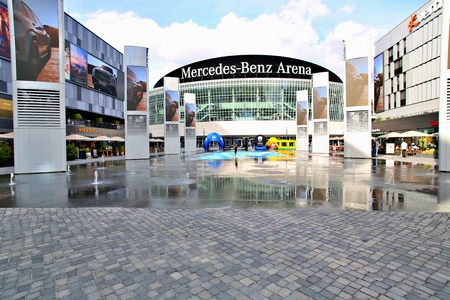 Berlin, Germany. Friday, September 27, 2019: The view of front the Mercedes Benz Arena.