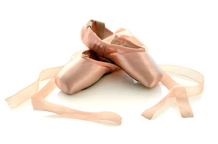Ballet pointe shoes isolated on white background.