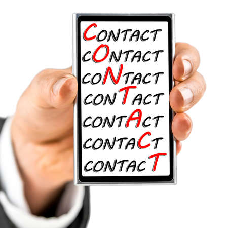 Word contact emphasized on smart phone screen.