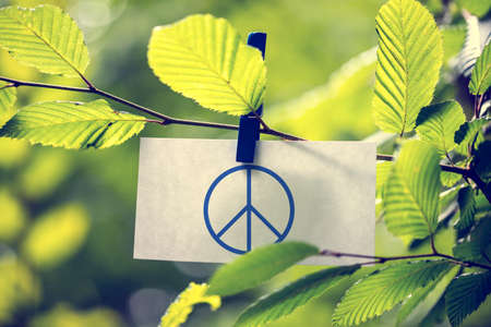 Peace concept with a peace sign attached to a twig of fresh green sunlit leaves by a wooden clothes peg.