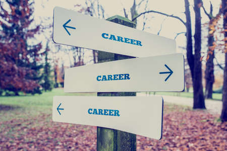 Photo for Rural signboard with the word Career with arrows pointing in three directions conceptual of there being many choices different career and diversity. - Royalty Free Image