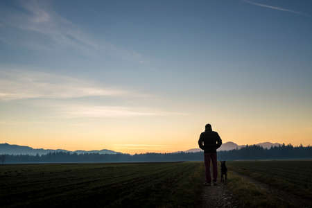 Photo pour View from behind of a man walking with his black dog at dusk on a country road leading through beautiful landscape of fields with forest in the distance and beautiful evening sky above. - image libre de droit