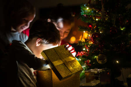 Photo pour Three kids, two toddler boys and a girl, opening a golden gift box with light coming out of it under a Christmas tree with holiday lights. - image libre de droit