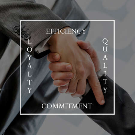 Photo pour Word Efficiency, Quality, Commitment and Loyalty written in a square shape over two businessmen shaking hands in agreement. - image libre de droit