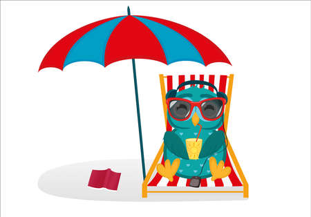 Illustration for Cute owls in sunglasses on vacation lying down and relaxing on a deck chair under an umbrella. - Royalty Free Image