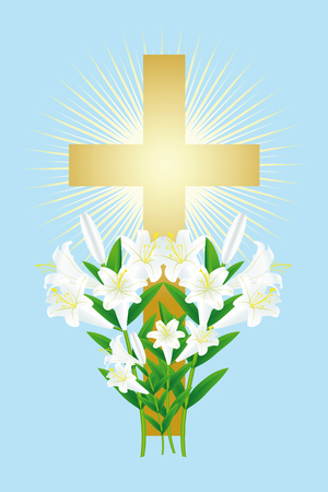 easter white lily and cross