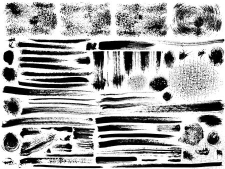 vector set of grunge strokes, dry brush effect