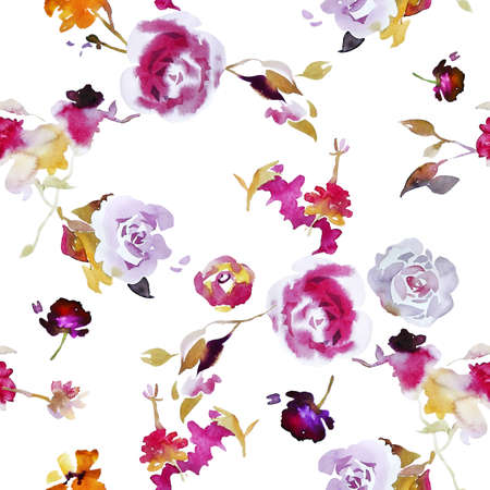 Foto für Watercolor floral seamless pattern. Opulent blossom roses with foliage isolated on white. Botanical ornament in vintage style. Backdrop for wallpaper, fabric, textile, texture, wrapping or surface. - Lizenzfreies Bild