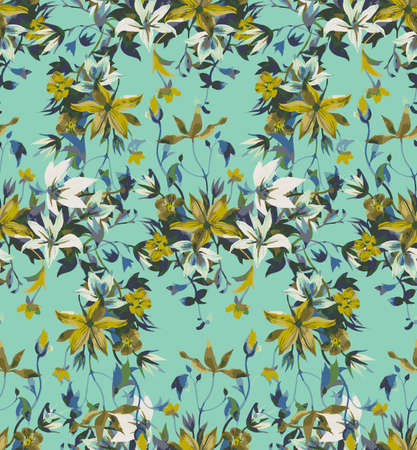 Illustration pour Seamless floral pattern with abstract garden flowers. Watercolor botanical illustration. Petals, buds, blooming flowers and leaves. Background for wallpaper, textile, fabric, clothes, dress or surface - image libre de droit