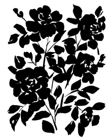 Illustration pour Hand drawn bouquet of flat opulent roses isolated on white. Flowers silhouettes. Floral artwork illustration. Decorative background with large blossom flowers for postcard, print, banner, poster - image libre de droit