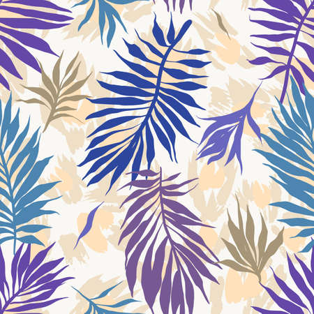 Illustration pour Abstract seamless tropical plants pattern. Hand drawn fantasy exotic sprigs with leopard skin background. Floral illustration made of herbal foliage leaves. Good for wallpaper, textile, fabric, fashion. - image libre de droit