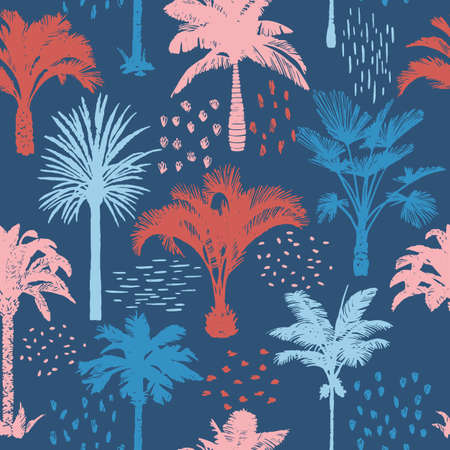 Illustration pour Palm tree seamless pattern with abstract doodle elements. Silhouettes of drawn tropical plants. Flat Hawaiian background with banana and coconut palm trees. For t-shirt, cloth, fabric, textile, - image libre de droit