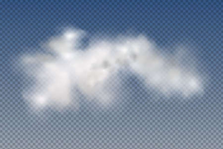 Illustration for Set of realistic isolated and transparent clouds, fog or smoke on a blue background.Graphic element vector. Vector design shape for logo, web and print. - Royalty Free Image