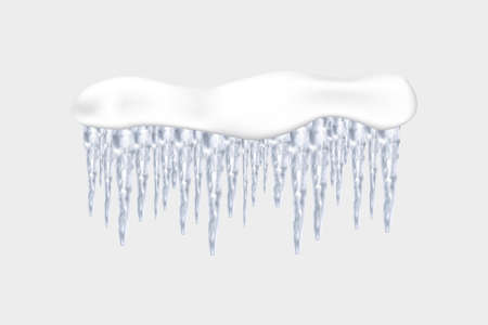 Ilustración de Set of snowy elements, icicles and caps on winter background. Winter seasonal decorations. Vector template in realistic style. - Imagen libre de derechos