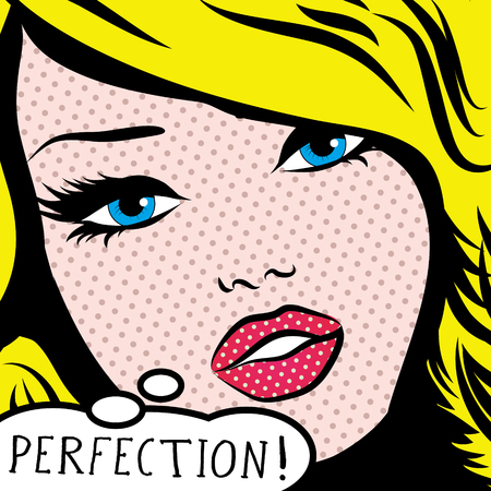 Pop art woman with perfection thought bubble