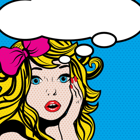 Illustration pour Pop art woman with blank thought bubble - image libre de droit